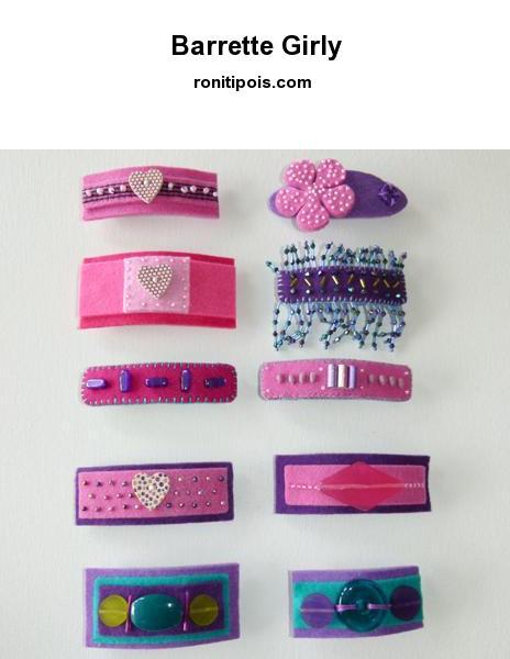 Barrette de feutrine rose, mauve ou violette customisée de cœurs et de pois.