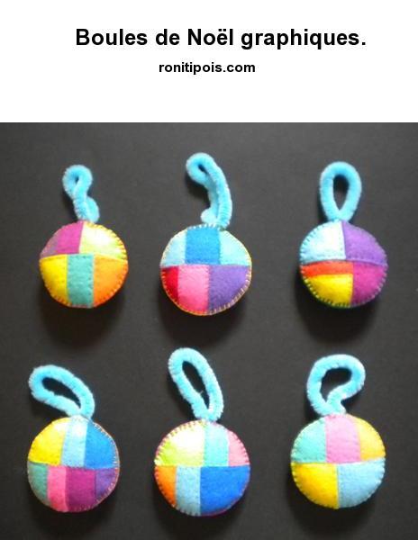 6 boules de Noël patchwork graphique assorties.