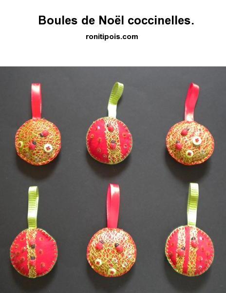 6 boules de Noël coccinelles assorties.