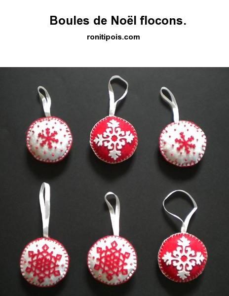 6 boules de Noël flocons assorties aux couleurs du Père Noël.