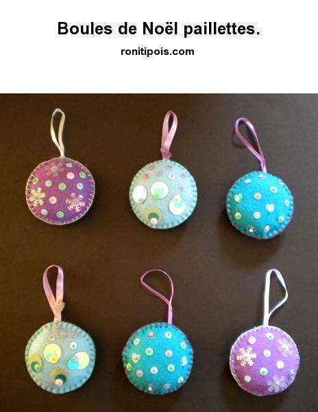 6 boules de Noël à paillettes assorties.