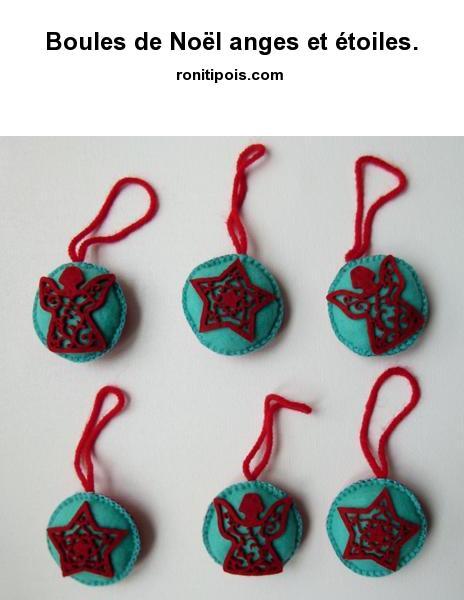 6 boules de Noël anges et étoiles assorties, dos rouge uni. Point de feston.