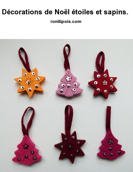 6 décorations de Noël étoiles et sapins assorties pour le sapin, déco recto verso.
