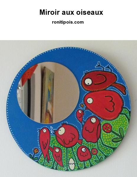 Miroir en bois recouvert d'une toile, peint à la main - Motif oiseaux et fleurs.