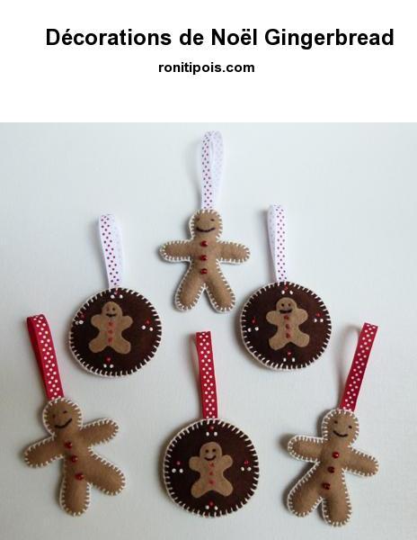 6 décorations de Noël motif Bonhomme Pain d'épice assorties pour le sapin.